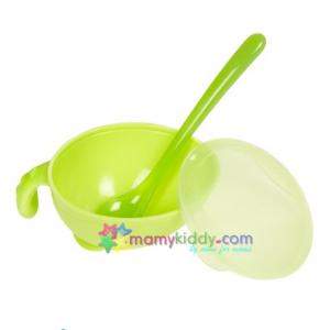 ชามป้อนอาหารทารกพร้อมช้อนและฝาปิด Nuby