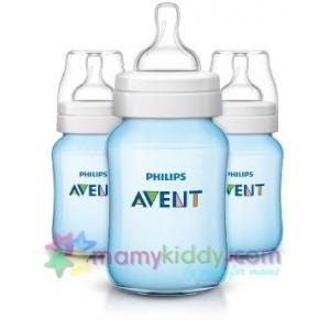 ขวดนม Avent 9Oz BPA Free สีฟ้า - แพคสาม