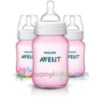 ขวดนม Avent 9Oz BPA Free สีชมพู - แพคสาม